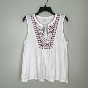 LOFT Outlet White Embroidered Sleeveless Top